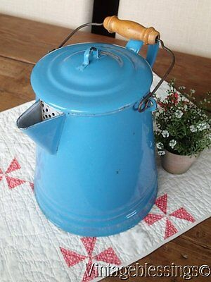 Antique FRENCH Blue Enamelware GraniteWare Large Coffee Pot 10 1/2 Wooden Handle