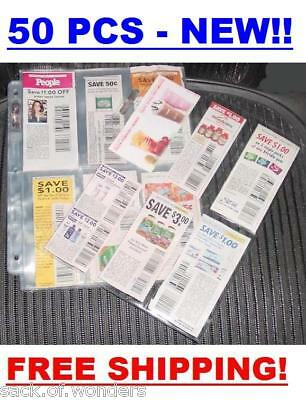 (50) Coupon Sleeves Pages for Binder 6 Pockets - NEW!!!