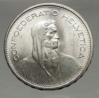 1967 Switzerland Founding HERO WILLIAM TELL 5 Francs European Silver Coin i56740