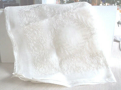 """Tablecloth Sheer Card Table Size 36"""" x 36"""" Machine Embroidered 5 Napkins"""