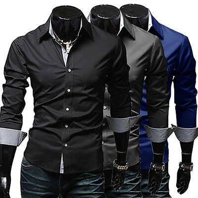 Uomo Slim Fit Abito Manica Lunga Camicia Casuale Office Maglietta Top Camicie