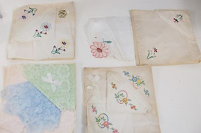 Vintage Lot of HANKIES Hanky Handkerchiefs  Lace Floral Embroidered NEVER USED!
