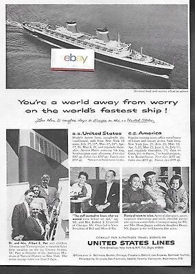 United States Lines Ss United States & Ss America 5 Carefree Days Europe 1959 Ad