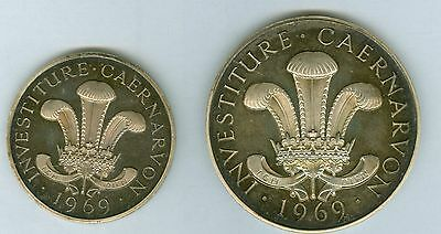 RARE John Pinches 1969 SILVER PROOF Medals INVESTITURE Of PRINCE CHARLES Cased