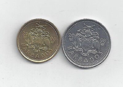 2 NICE COINS from BARBADOS - 5 & 25 CENTS (BOTH DATING 2008)