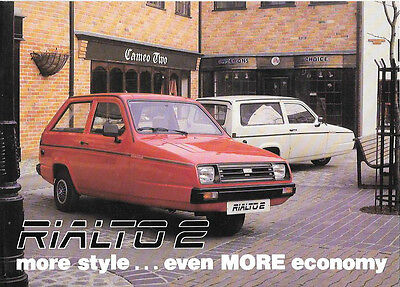 RELIANT RIALTO 2 TWO / THREE DOOR AND VAN SALES BROCHURE LATE  80's?