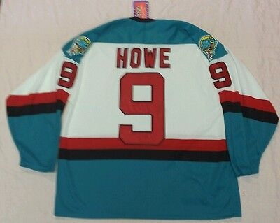 Gordie Howe Detroit Vipers Retro Jersey Bauer Authentic Size Large Flo Knit Nwt