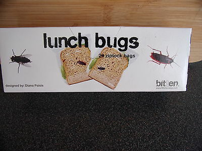 Lunch Bugs 24 Ziplock Bags.Joke Trick Prank.New  Boxed.Free post