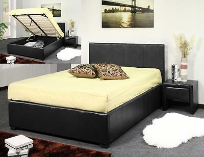 BROWN FAUX LEATHER DOUBLE 4FT6 STORAGE OTTOMAN LIFT BED *Hard Base For Storage*