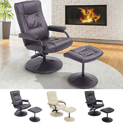 Recliner Chair Swivel Armchair Lounge Seat w/ Footrest Stool Ottoman Home Office