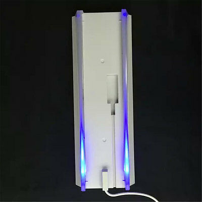 PS4 Console Vertical Stand Holder Hold + Blue Light for PS4 Slim White