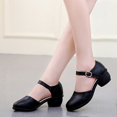 Lady Modern Ballroom Dance Shoes Soft Sole Mary Janes Summer Buckle Strap Pumps