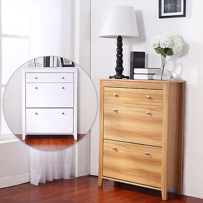 12 Pairs Shoes Cabinet Wooden Rack Storage Organizer Drawers Standing Furniture