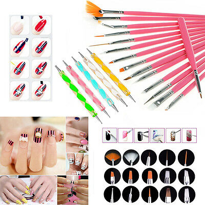 20pcs Nail Art Design Set Kit Dotting Painting Drawing Polish Brush Pen Tool DIY