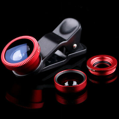 3in1 Fish Eye+ Wide Angle + Macro Camera Clip-on Lens Universal For Phone Red US
