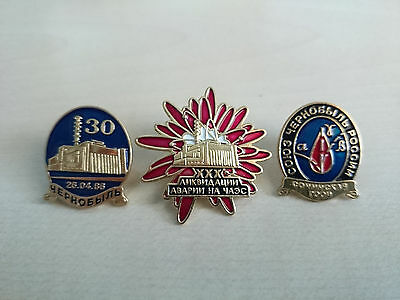 Badge. Russia.  Chernobyl disaster 30 years. Lot of 3 pin