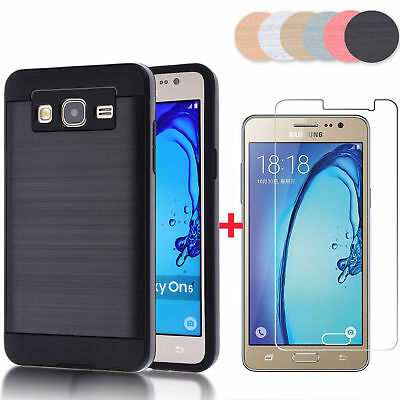 Hybrid Dual Layer Protective Case Cover+Tempered Glass for Samsung Galaxy On5