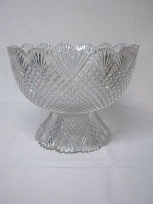 "Rare 14"" American Brilliant Abp Strawberry Diamond Fan Cut Punch Bowl & Pedestal"