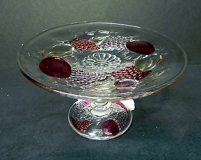 Westmoreland Glass Embossed Fruit Della Robbia Compote  *