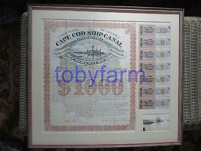 1887 Very Rare Cape Cod Ship Canal Construction Debenture Stock Certificate Sgnd
