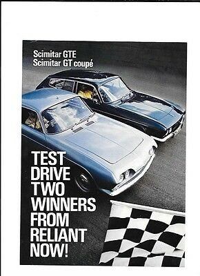 EARLY RELIANT SCIMITAR GTE & GT COUPE 'TEST DRIVE CAR 'BROCHURE' SHEET LATE 60's