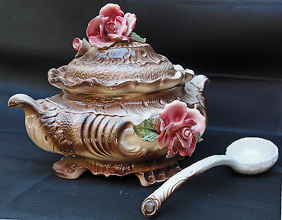 Capodimonte Soup Tureen Handmade In Italy Baroque Style Footed Roses With Ladle