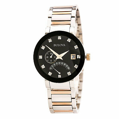 Bulova 98D129 Gent's Black Dial Two Tone Bracelet Diamond Watch