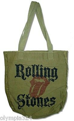 ROLLING STONES, THE TOTE BAG Olive Green Authentic Licensed NEW