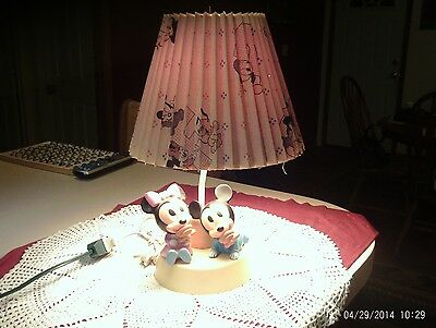 Vintage Mickey Minnie Mouse Children's Lamp With Nightlight 1984 Dolly