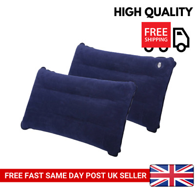 NEW 2x BLUE INFLATABLE PILLOW CAMPING TRAVEL SOFT BLOW-UP