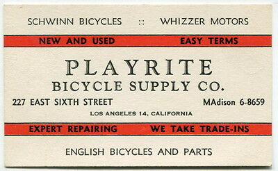 Vintage Bicycle Shop Business Card: SCHWINN, WHIZZER MOTORS [Los Angeles]