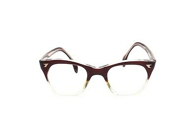 Vintage 1960s two tone eyeglasses in brown and crystal in 45 - 20 mm M9