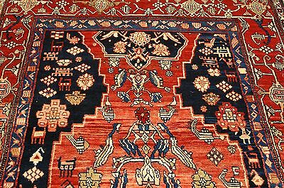 Circa 1920s ANTIQUE FOYER SIZE PRSIAN BEJAR HALVAI RUG 5x9 ONE OF A KIND