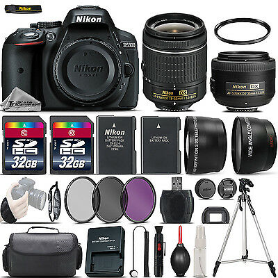 Nikon D5300 Digital SLR Camera + 18-55mm VR + 35mm 1.8 + 64GB & More -4 Lens Kit