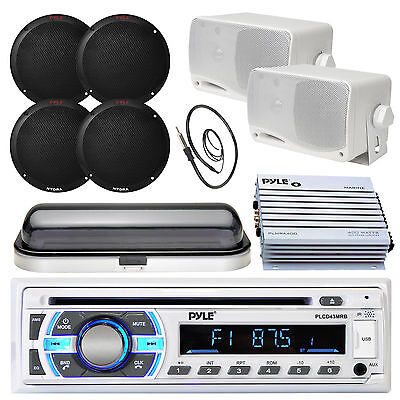 "Pyle SD USB Bluetooth Radio,Marine 6.5"" and 3.5"" Speakers,Antenna,Cover,Amplifer"