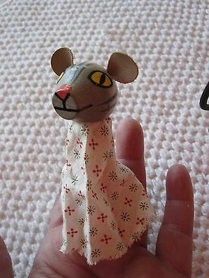 """Cute Vintage Hand Painted Wood With Cotton Floral 3"""" Finger Puppet Tiger/cat"""