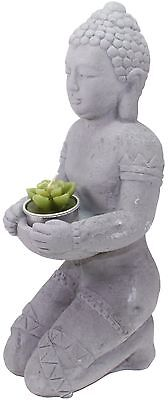 "12"" Buddha Stone Statue Tea Light Candle Holder Figurine Home Garden US Seller"