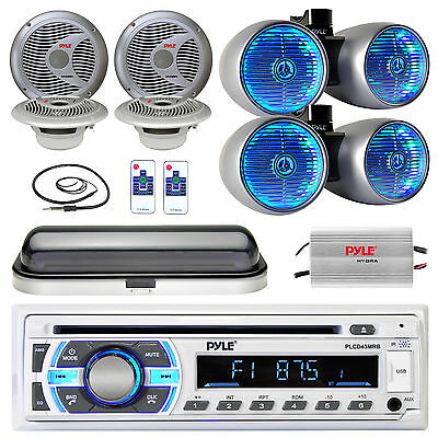 """Silver LED 8"""" Speakers,Boat 6.5"""" Speakers,USB Bluetooth Radio, Cover,Amp,Antenna"""