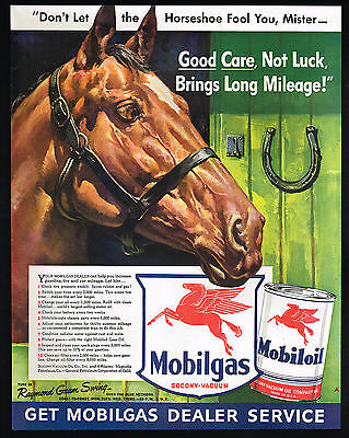 1942 Pegasus Red Flying Horse Mobil Oil Gas Horseshoe Socony Vacuum Print Ad
