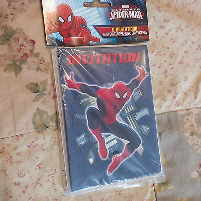 Marvel Ultimate Spider-Man Birthday Party Invitations 8 in pack NEW