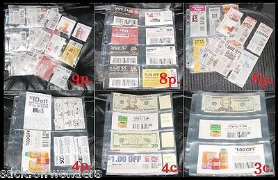 *65* COUPON PAGES SLEEVES for ORGANIZING YOUR BINDER - CHOOSE Your Own Pages!!