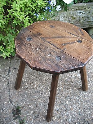 Old antique rustic Oak 12 sided hand made farmhouse country kitchen stool