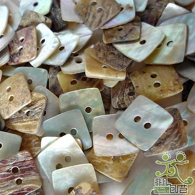 50pcs Mother of Pearl Square Shell Button Lots 11mm 2 Holes Craft Sewing
