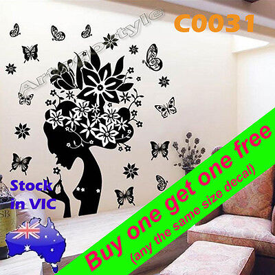 Wall Decal Sticker poster print office home room decor Flower fairy girl C0031