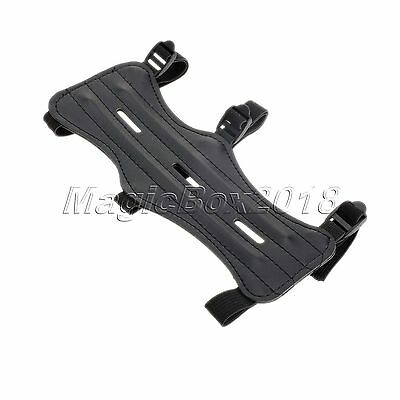 3 Strap Adjustable Shooting Archery Arm Guard Black Cow Leather Wrist Protector