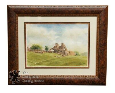 Early 20th Century Signed Watercolor Philip Castle Ruins Realist Landscape