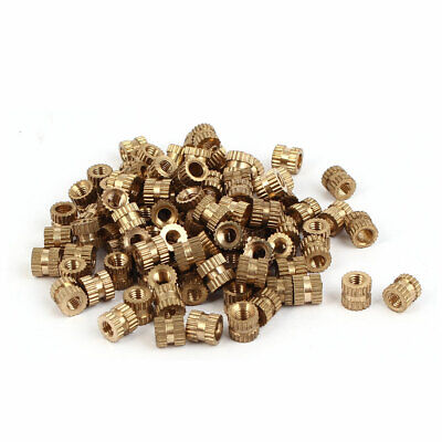 M3 x 5mm x 5.3mm Brass Cylindrical Knurled Threaded Insert Embedded Nuts 100PCS