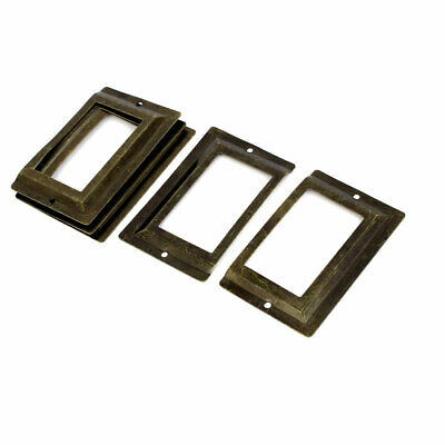 Post Office Library File Drawer Metal Tag Label Holder Bronze Tone 5pcs
