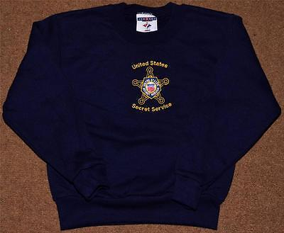 USSS Secret Service Sweatshirt Youth Small 6-8 Blue Embroidered Gold Star POTUS