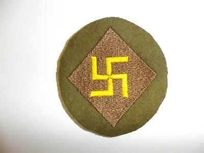 b8827 US Army 1930's 45th Infantry Division patch OD wool mchn emb variation